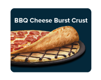 Smoky BBQ sauce on a layer of creamy cheddar cheese sauce in between two crunchy thin crusts.
