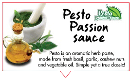 Pesto herb paste made with fresh basil garlic cashew nuts and vegetable oil